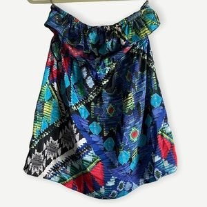 Forever 21 ruffle tube top, graphic/tribal print